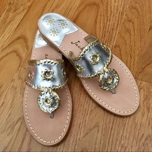 [7] Jack Rogers Iconic Silver and Gold Sandals ✨